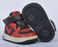 Nike Force 1 Mid TD Black Varsity Red White Toddler Shoes 307192 063 Defect