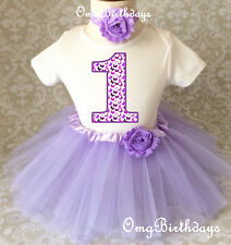 Purple lavender Butterfly Baby Girl 1st First Birthday Tutu Outfit Shirt Set