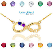 14K Gold Infinity #1MOM Necklace Two CZ Birthstones January February March April