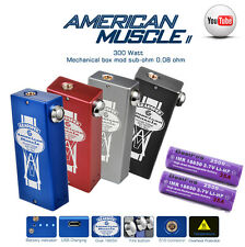American Muscle Unregulated Dual 18650 in Parallel Box Mod Vape w/ Charging Port