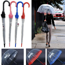 Dome Shape Umbrella Clear Transparent With Border Walking Rain Brolly 23""
