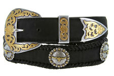 Laredo Longhorn Steer Berry Concho Western Genuine Leather Cowboy Belt
