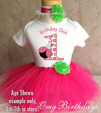 Pink Green Ladybug Lady bug 1st First Birthday Tutu Outfit Shirt Set Party Dress