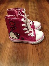 NEW Toddler Girl Hello Kitty Shoes - Pink Glitter High Hi Top Size  6 8 9 11 13