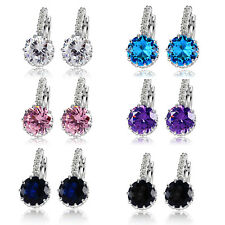 925 sterling silver swarovski crystal Blue Danube diamond  women stud earrings