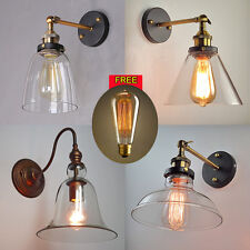 Vintage Industrial Light Glass Lampshade Retro Edison Style Wall Lamp