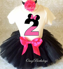 Minnie Mouse Pink Black Dot 2nd Second Birthday Shirt Tutu Outfit Set Party girl