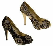 Ladies Bridal Party Court Shoes Lace Overlay Womens Platform High Heels Size 5