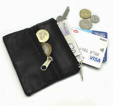 MENS LADIES REAL LEATHER COIN POUCH WALLET ZIPPER KEYRING PURSE SLIM CARD HOLDER
