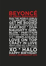 Beyonce - Set List Poster - Birmingham 23rd February - Typography art print