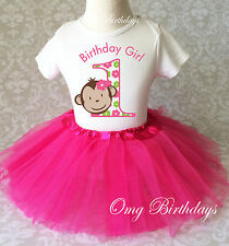 Pink Mod Monkey Baby Girl 1st First Birthday Tutu Outfit Shirt Set Party Dress