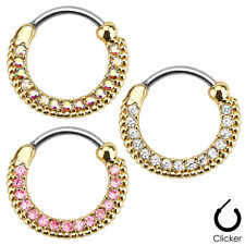 1pc Gold Plated Round Paved Gem Septum Clicker 316L Surgical Steel 16g Nose Ring