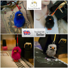 3 FOR 2! UK SALE Soft Fur Baby Duck Charm Handbag / Phone Pendant Ball Keyring!