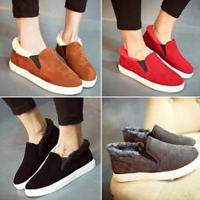 Women's Fur Lining Warm Slip-on Step-in Sythetic Suede Casual Flat Shoes Loafer