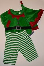 3 Piece Velour Santa Elf Costume Outfit Embroidered Accent on Suit Matching Hat