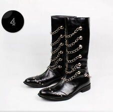 jazz punk England fashion mens cowboy boots chains riding knee high boots shoes