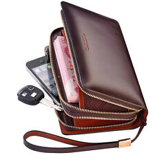 Real Leather Men's Casual Wrist Day Clutch Handbag Organizer Checkbook Wallet