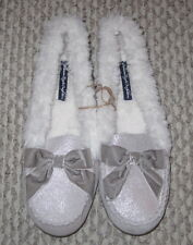 NWT AMERICAN EAGLE SILVER SHIMMER LIGHT GRAY SUEDE SHEARLING MOCCASIN SLIPPERS