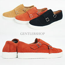 Mens Shoes Suede Leather Double Monk Strap Slip On Sneakers 4064, GENTLERSHOP