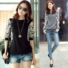 Korean Fashion Women's Loose Lace Sleeve Crew Neck T-Shirt Tops Blouse Sweat New