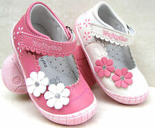 GIRLS LEATHER LINED WHITE PINK BALLERINAS TOE CAPS PUMPS WALK INFANT KIDS SHOES