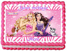 THE PRINCESS AND THE POPSTAR Barbie Edible image Cake topper