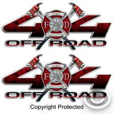 Red 4x4 Firefighter Truck Sticker Set Volunteer Fire Department Decal for Ford