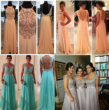 New Long Chiffon Wedding Evening Formal Party Ball Gown Prom Bridesmaid Dresses