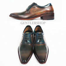 Mens Fashion Tanned Brown Leather Studs Oxfords Formal Shoes 10483, GENTLERSHOP