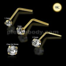 Body Jewelry 1pc. 9K Gold L-Shaped Genuine Crystal Nose Stud  Free Shipping