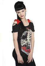 BANNED Bird in Cage Top Tunic Off Shoulder T-Shirt Goth Punk Rock Black 8 10 12