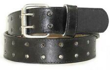 "LA120 1.5"" BLACK TWO HOLE CASUAL JEANS LEATHER BELT FOR MEN IN SIZES TO 3XL"