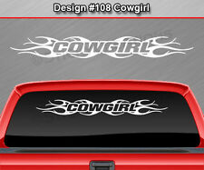 #108 COWGIRL Windshield Decal Window Sticker Vinyl Graphic Tribal Flame Car SUV