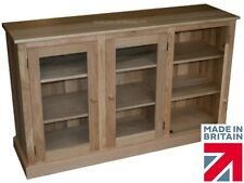 Solid Oak Sideboard, Handcrafted Contemporary 3ft x 5ft Glazed Display Cabinet