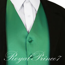 Emerald Green Men's Solid Tuxedo Suit Dress Vest Waistcoat Wedding Black Back