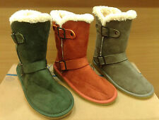 New Womens Fur Winter Boots Shoes Mid Calf  Flat Heel Warm Snow Faux Suede Sizes