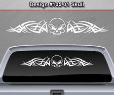 #105-01 SKULL Back Window Decal Sticker Vinyl Graphic Tribal Spikes Truck Car