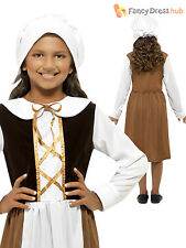 Girls Tudor Maid Servant Outfit Poor Child Kids Fancy Dress Costume Book Week