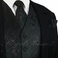 20-B Black Paisley Tuxedo Suit Dress Vest Waistcoat & Neck tie & And Hankie