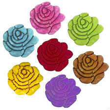 Round Floral Area Rug Shaggy Rose Shaped Carpet Floor Mat, Kids/Play Room Decor