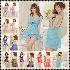 New Sexy Ladies Lace Flower Dress Underwear Babydoll Sleepwear + G-string E40