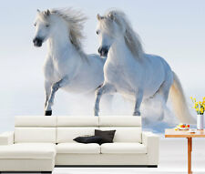 Two White Horses Gallop Snow 3D Full Wall Mural Photo Wallpaper Home Decal Kids