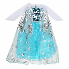 USA Ship Grils Elsa Princess Ice Queen Party Sequins Dresses Outfit Kids Cosplay