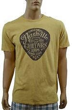New LUCKY BRAND Men's Yellow Graphic Printed Nashville Pick S/S Crew Tee Shirt