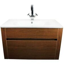 New Walnut Wall Hung  Bathroom Vanity Unit Gel Resin Basin Cabinet Furniture