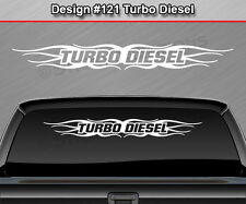 #121 TURBO DIESEL Windshield Decal Window Sticker Graphic Flame Tribal Truck SUV