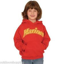 Red/Gold MARINES IMPRINTED/LOGO YOUTH'S PULLOVER HOODIE - USMC, Draw String Hood
