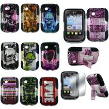 LG 306G Tracfone Hybrid Hard KickStand Dual Armor Snap On Case Cover Design1