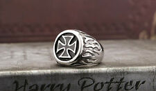 Stainless Steel Men's Rings,Iron Cross of the German military Ring,Gothic Rings