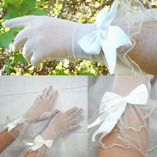 Mesh Bow Stretch Sheer Gloves Elbow Bridal Prom Opera Wedding Formal Party OS US
